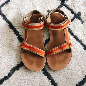 Teva Orange/Yellow Platform Sandals